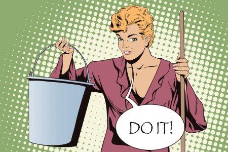 Vrouw schoonmaken do it retro