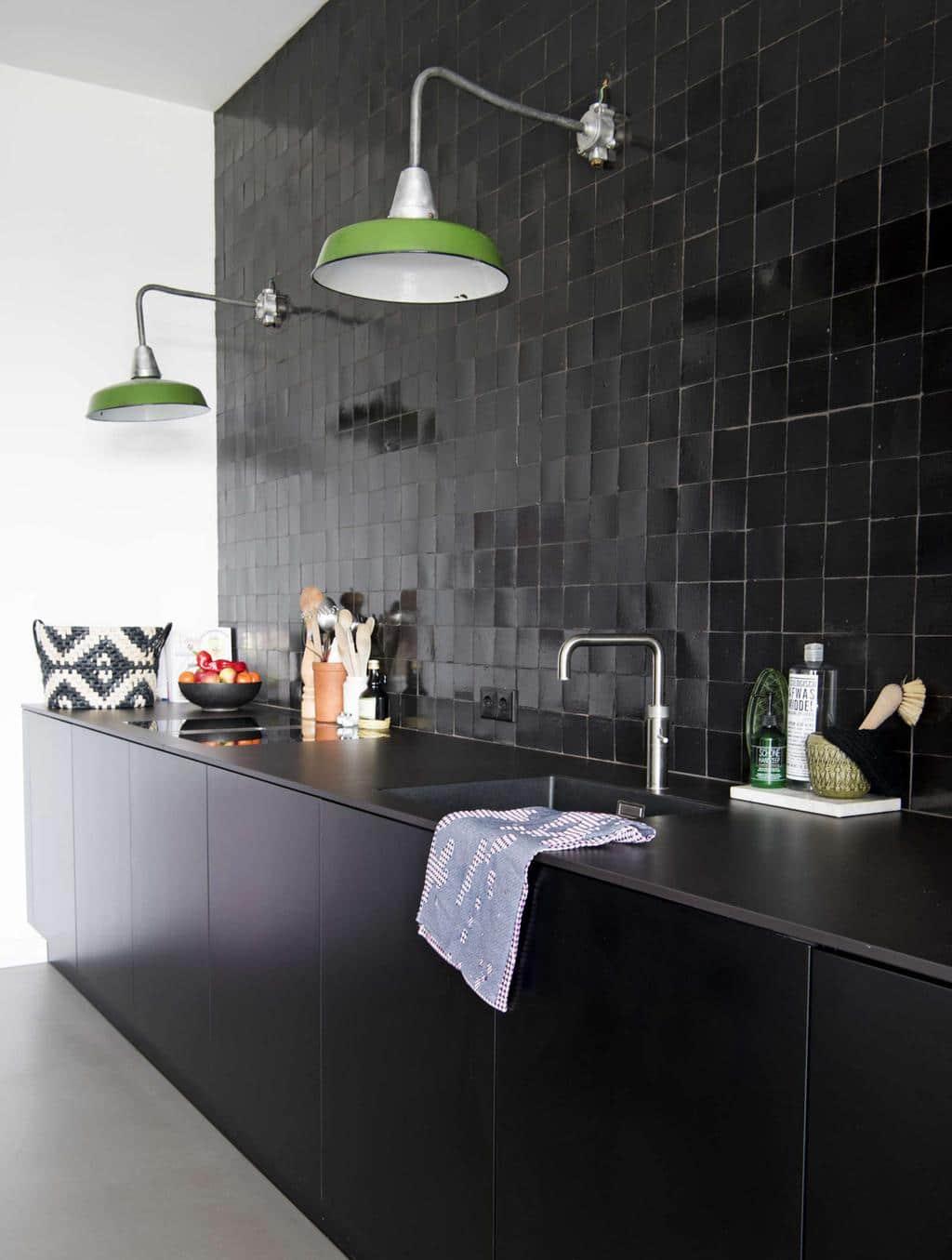 Zelliges zwart keuken retrotegels